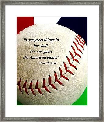 The American Game Framed Print by Christopher Kerby
