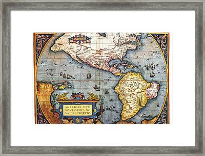 The Americas, 1587 Map By Abraham Ortelius Framed Print by Fototeca Storica Nazionale