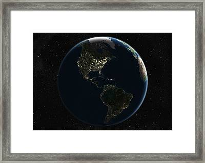 The Americas At Night, Satellite Image Framed Print by Planetobserver