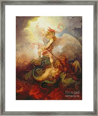 The Angel Binding Satan Framed Print by Philip James de Loutherbourg