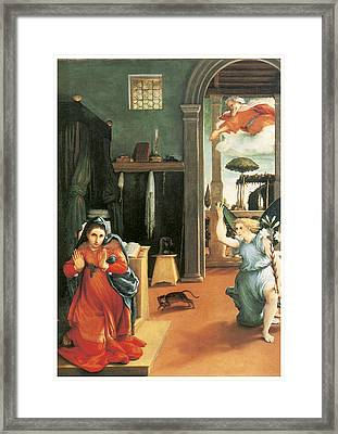 The Annunciation Framed Print by Lorenzo Lotto