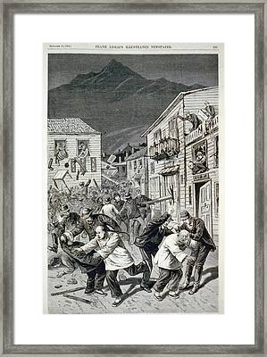 The Anti-chinese Riot In Denver Framed Print by Everett