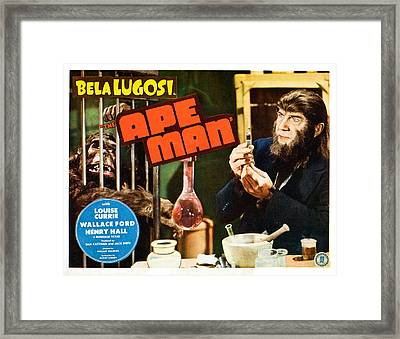 The Ape Man, Bela Lugosi, Lobbycard Framed Print by Everett
