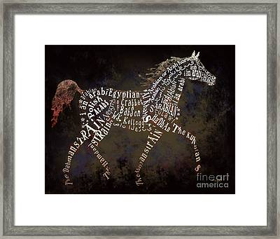 The Arabian Horse In Typography Framed Print by Ginny Luttrell
