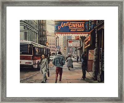 Framed Print featuring the painting The Art Cinema In The 80s. by James Guentner