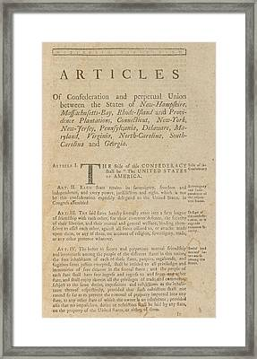 The Articles Of Confederation. First Framed Print by Everett