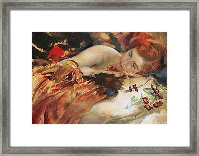 The Artist's Mistress Framed Print by Charles Sims