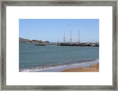 The Balclutha . A 1886 Square Rigged Cargo Ship At The Hyde Street Pier Overlooking Alcatraz.7d14068 Framed Print by Wingsdomain Art and Photography