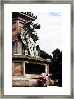 The Ballerina And The Angel Holding The Globe. Framed Print by Nishanth Gopinathan