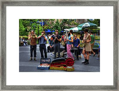 The Band Big Nasty From Asheville Performing In Washington Square Park Framed Print by Randy Aveille