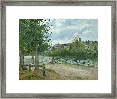 The Banks Of The Oise At Pontoise Framed Print by Camille Pissarro