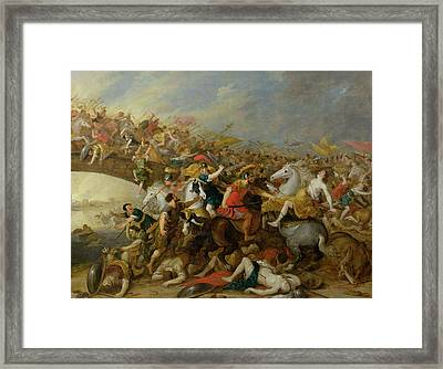The Battle Between The Amazons And The Greeks Framed Print by Pauwel Casteels