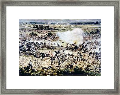 The Battle Of Gettysburg, Picketts Framed Print by Everett