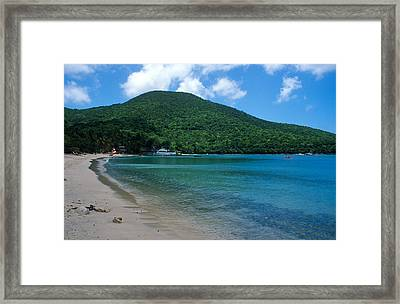 The Beach At Caneel Bay Framed Print by Kathy Yates