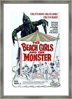 The Beach Girls And The Monster Framed Print