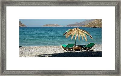The Beach Umbrella Framed Print by Therese Alcorn