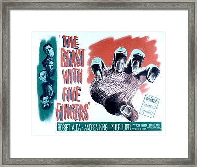The Beast With Five Fingers, Top Framed Print by Everett