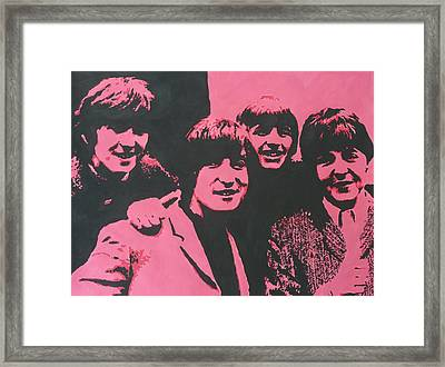 The Beatles In Pink Framed Print