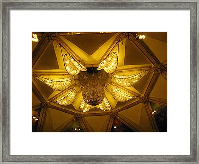 The Beautifully Lit Chandelier On The Ceiling Of The Iskcon Temple In Delhi Framed Print by Ashish Agarwal