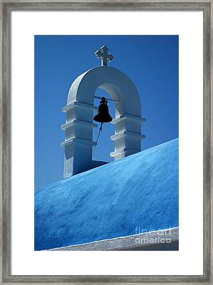 Framed Print featuring the photograph The Bell Tower In Mykonos by Vivian Christopher