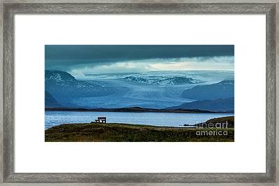 The Bench And The Glacier Framed Print