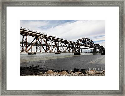 The Benicia-martinez Train Bridge In California - 5d18675 Framed Print by Wingsdomain Art and Photography