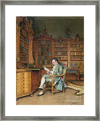 The Bibliophile Framed Print by Johann Hamza