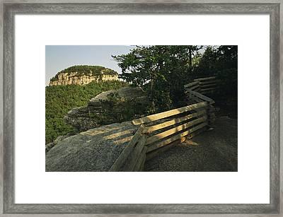 The Big Pinnacle Of Pilot Mountain. The Framed Print by Raymond Gehman