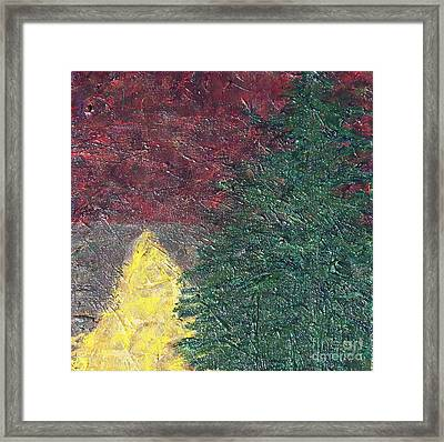 The Big Tree And The Yellow Path Framed Print
