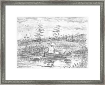 The Blue Canoe Framed Print by Horacio Prada