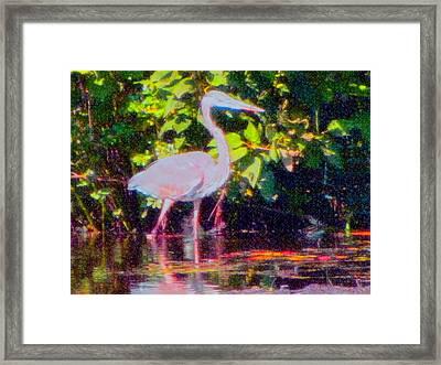 The Blue Heron Framed Print by Susan Carella