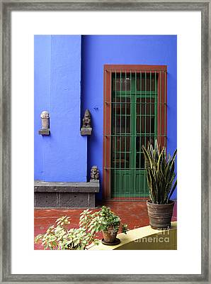 The Blue House Mexico City Framed Print by John  Mitchell