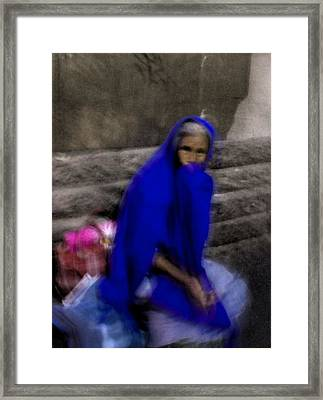 Framed Print featuring the photograph The Blue Shawl by Lynn Palmer
