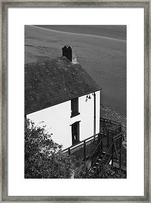 The Boathouse At Laugharne Mono Framed Print by Steve Purnell