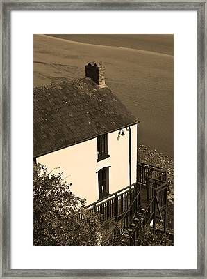 The Boathouse At Laugharne Sepia Framed Print by Steve Purnell