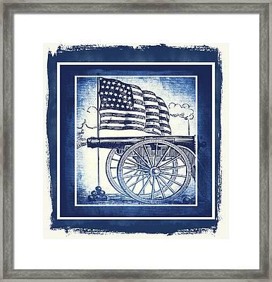 The Bombs Bursting In Air Blue Framed Print