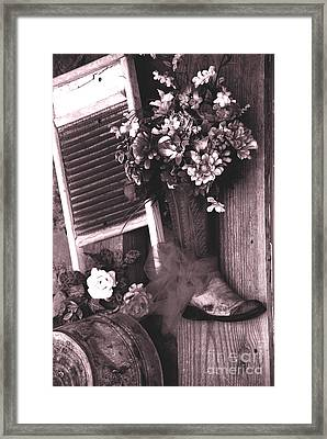 The Boot Store In Calico California Framed Print by Susanne Van Hulst