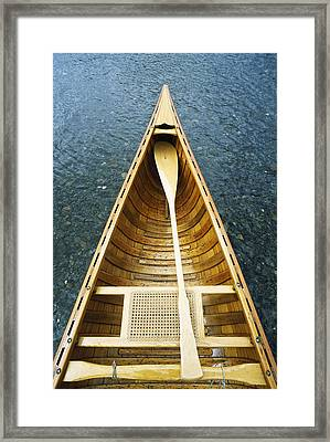 The Bow And Oar Of A Handmade Wooden Framed Print by Bill Curtsinger