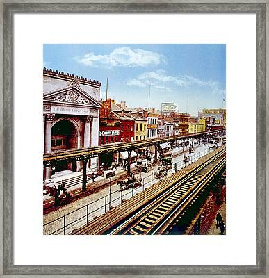 The Bowery With Its Elevated Rail Line Framed Print by Everett