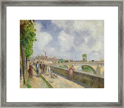 The Bridge At Pontoise Framed Print by Camille Pissarro