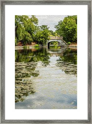 The Bridge On The Pond. Framed Print