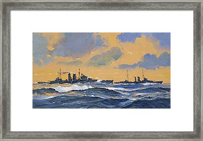 The British Cruisers Hms Exeter And Hms York  Framed Print by John S Smith