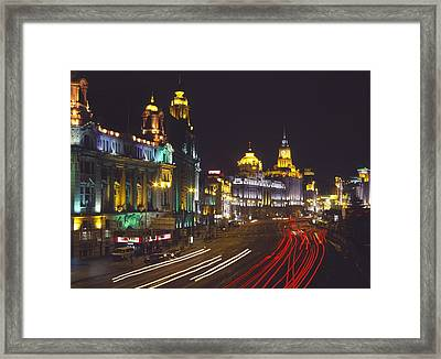 The Bund At Night Framed Print by Axiom Photographic