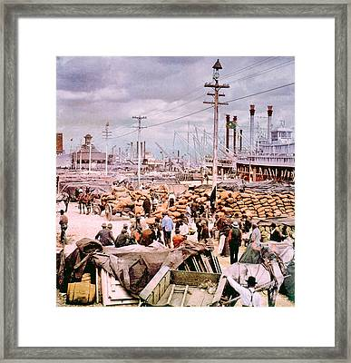 The Canal Street Levee Framed Print by Everett
