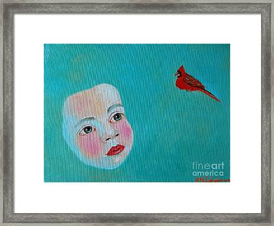 The Cardinal's Song Framed Print by Ana Maria Edulescu