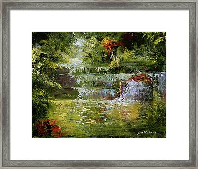 The Cascades Framed Print by Jane Woodward
