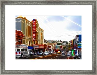 The Castro In San Francisco Electrified Framed Print by Wingsdomain Art and Photography