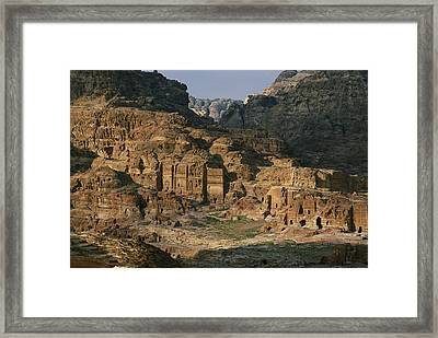 The Caves And Tombs Of Petra, Shown Framed Print by Annie Griffiths