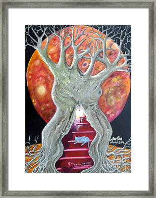 The Changing Goddess Under The Wiccan Moon. Framed Print by Trac Davies