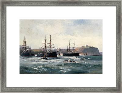 The Channel Fleet Off Scarborough Framed Print by William Lionel Wyllie